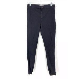 Topshop Sz 34* Joni Skinny Jeans Black Raw Hem